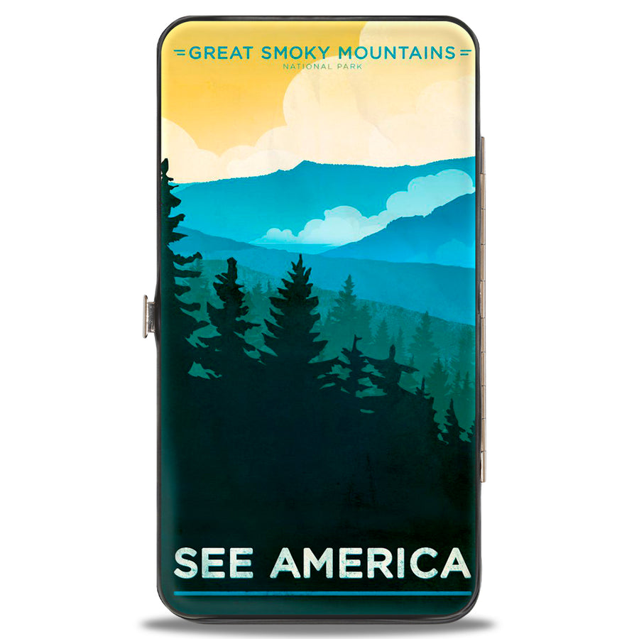 Hinged Wallet - SEE AMERICA-NC GREAT SMOKY MTNS Landscape Yellows Blues White