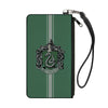 Canvas Zipper Wallet - SMALL - SLYTHERIN Crest Vertical Stripe Green Gray