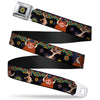 Lion King Aboriginal Full Color Black Navy Burgundy Green Seatbelt Belt - Timon & Pumba Poses/Aboriginal Black/Multi Color Webbing