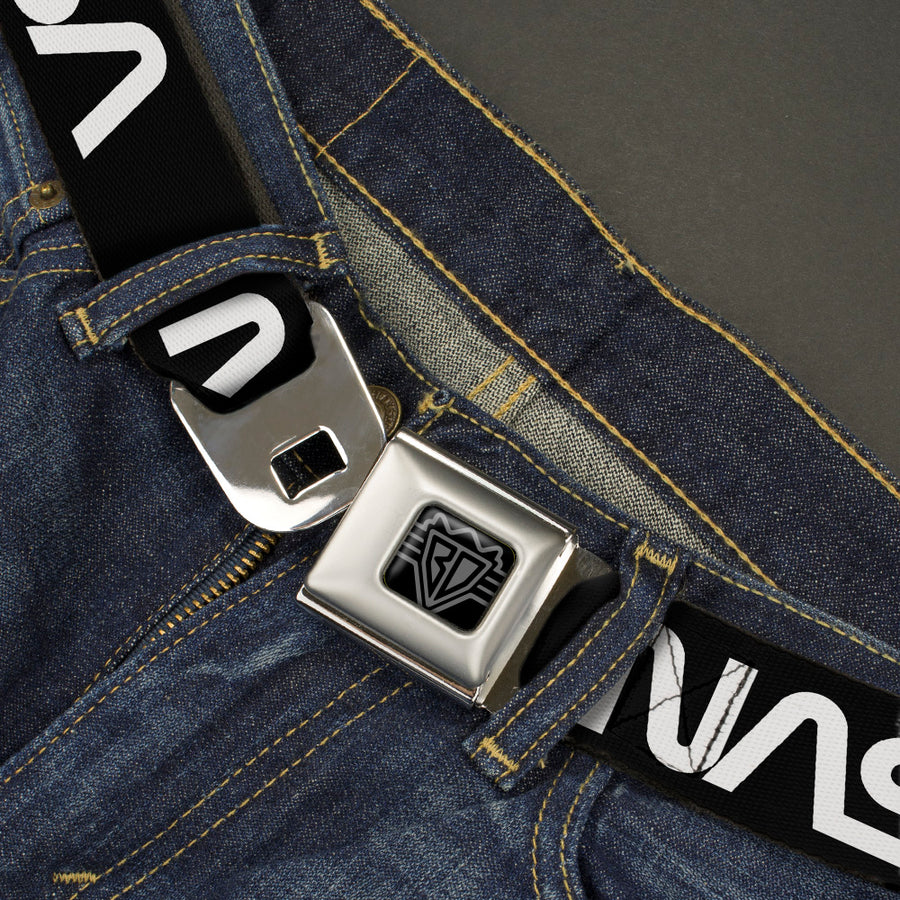 BD Wings Logo CLOSE-UP Black/Silver Seatbelt Belt - NASA Text Black/White Webbing