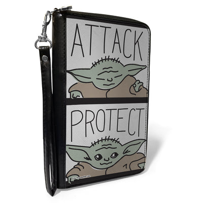Women's PU Zip Around Wallet Rectangle - Star Wars The Child ATTACK PROTECT Blocks Black