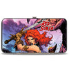 Hinged Wallet - RED SONJA Sword Action Pose4 Purples Blues
