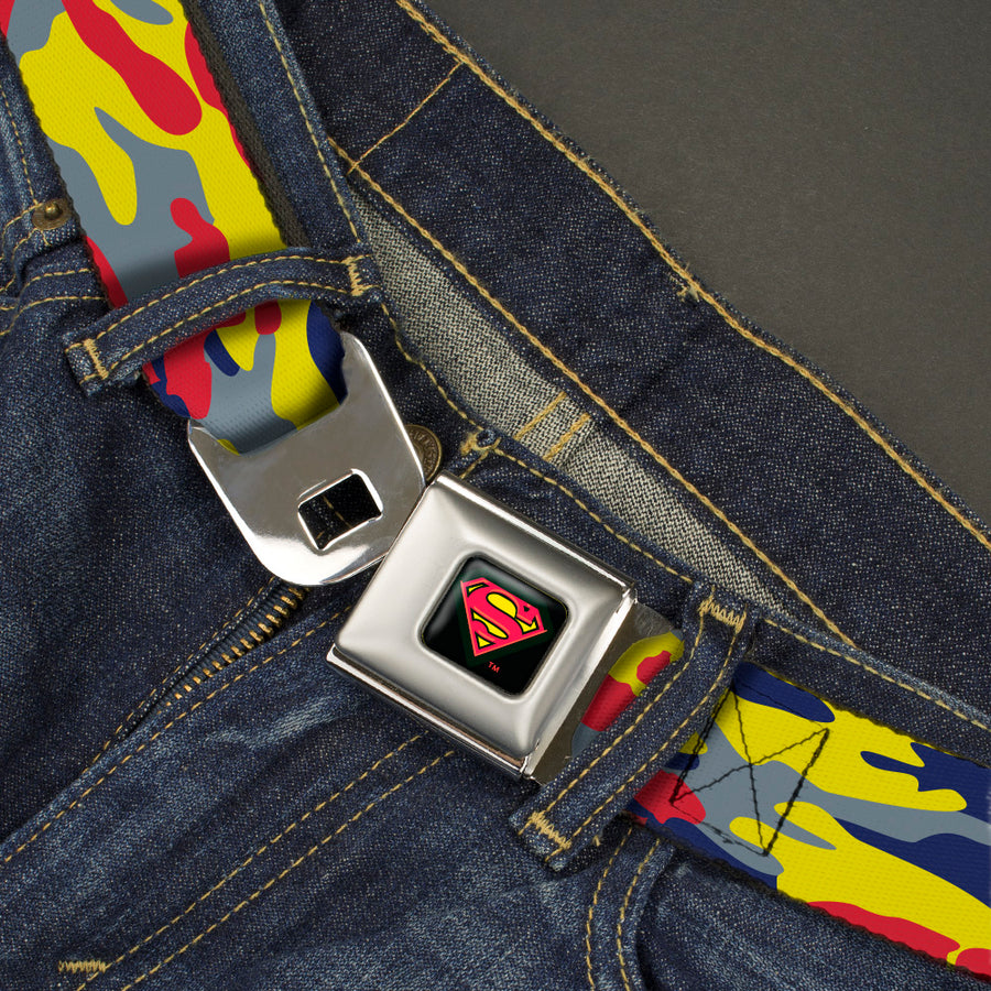 Superman Shadow Shield Full Color Black/Red/Yellow Seatbelt Belt - Superman Camo Yellow/Red/Blue/Gray Webbing