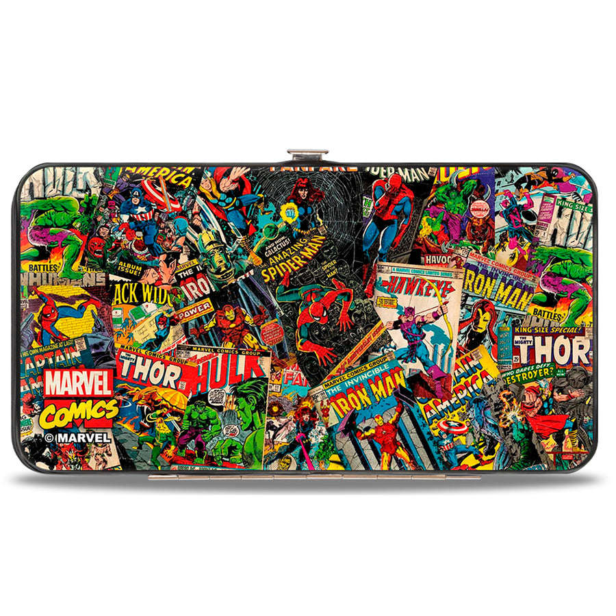 MARVEL COMICS Hinged Wallet - Retro Marvel Comic Books Stacked