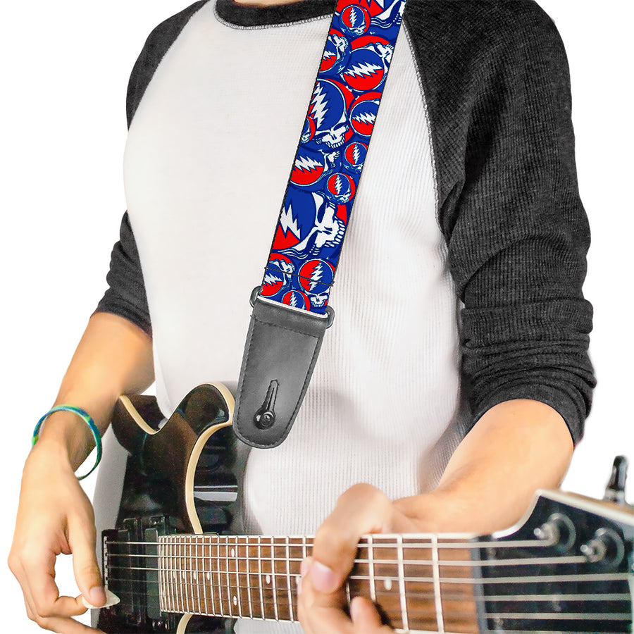 Guitar Strap - Steal Your Face Stacked Red White Blue