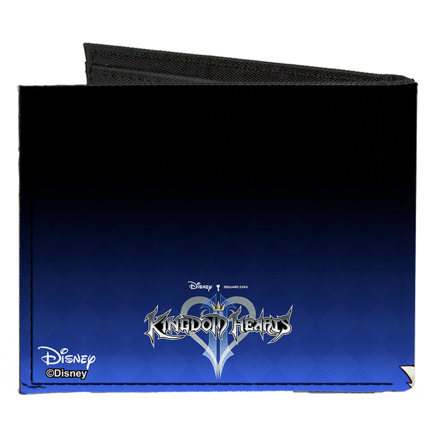 Canvas Bi-Fold Wallet - Kingdom Hearts II Donald Wisdom Form Sora Goofy Group Pose Diamonds Blue Fade