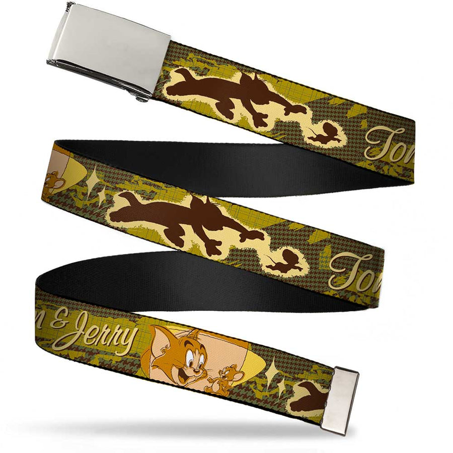 Chrome Buckle Web Belt - TOM & JERRY Tom Chasing Jerry Houndstooth Browns Webbing