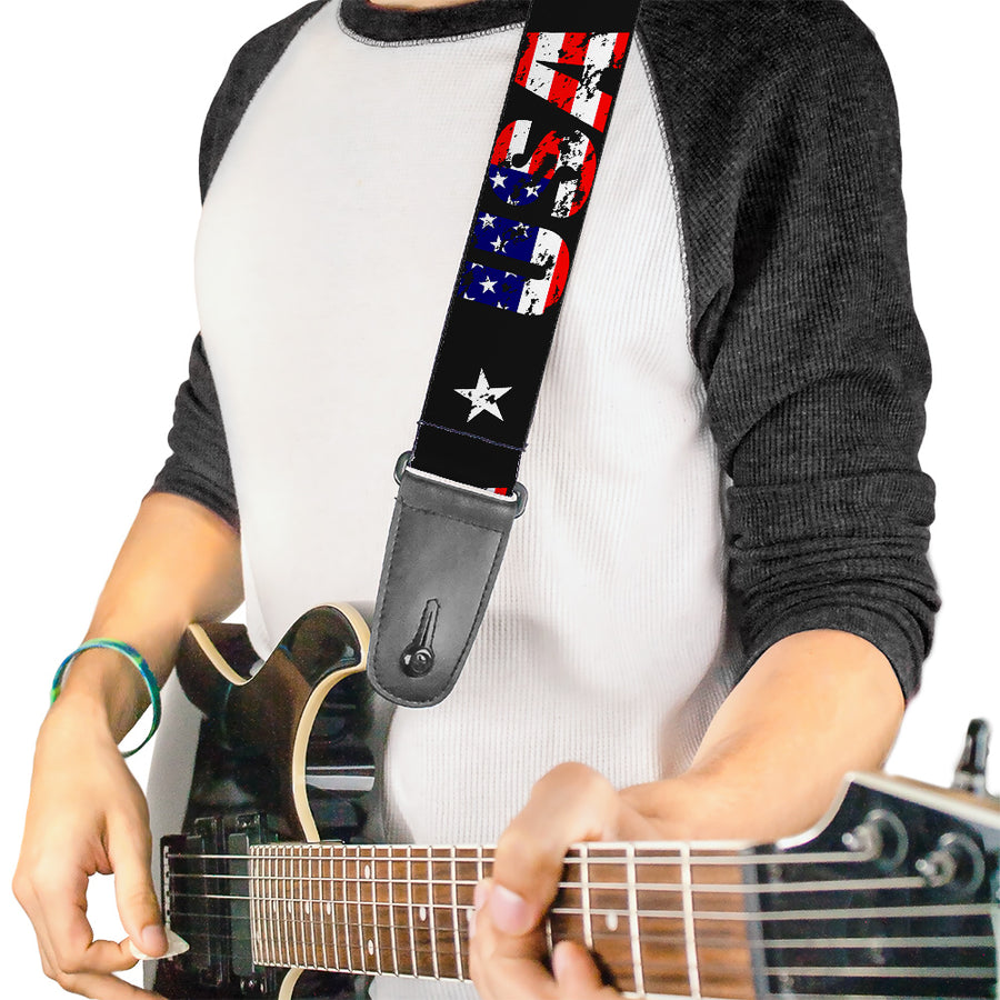 Guitar Strap - USA w Star Black US Flags