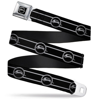 1962 Chevrolet Impala Deer Emblem Full Color Black Silver Seatbelt Belt - 1962 Chevrolet Impala Deer Emblem/Stripe Black/Silver Webbing