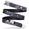 Joker Face Full Color Seatbelt Belt - Joker Face/Logo/Spades Black/White/Purple Webbing