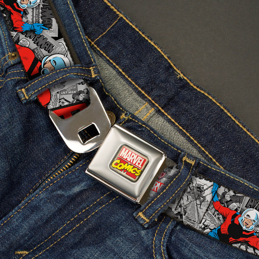 MARVEL COMICS Marvel Comics Logo Full Color Seatbelt Belt - Classic ANT-MAN 3-Poses/Comic Stacked Grays/Black/Red Webbing