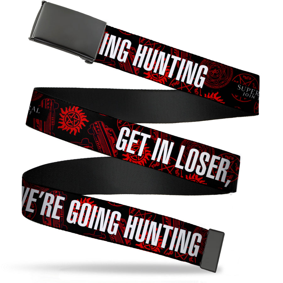 Black Buckle Web Belt - Supernatural GET IN LOSER, WE'RE GOING HUNTING/Symbols Scattered Black/Red/White Webbing