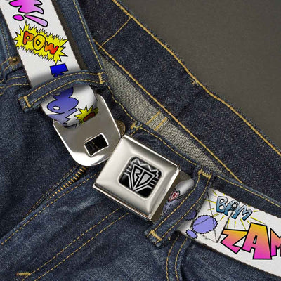 BD Wings Logo CLOSE-UP Full Color Black Silver Seatbelt Belt - Sound Effects White/Pastel Webbing