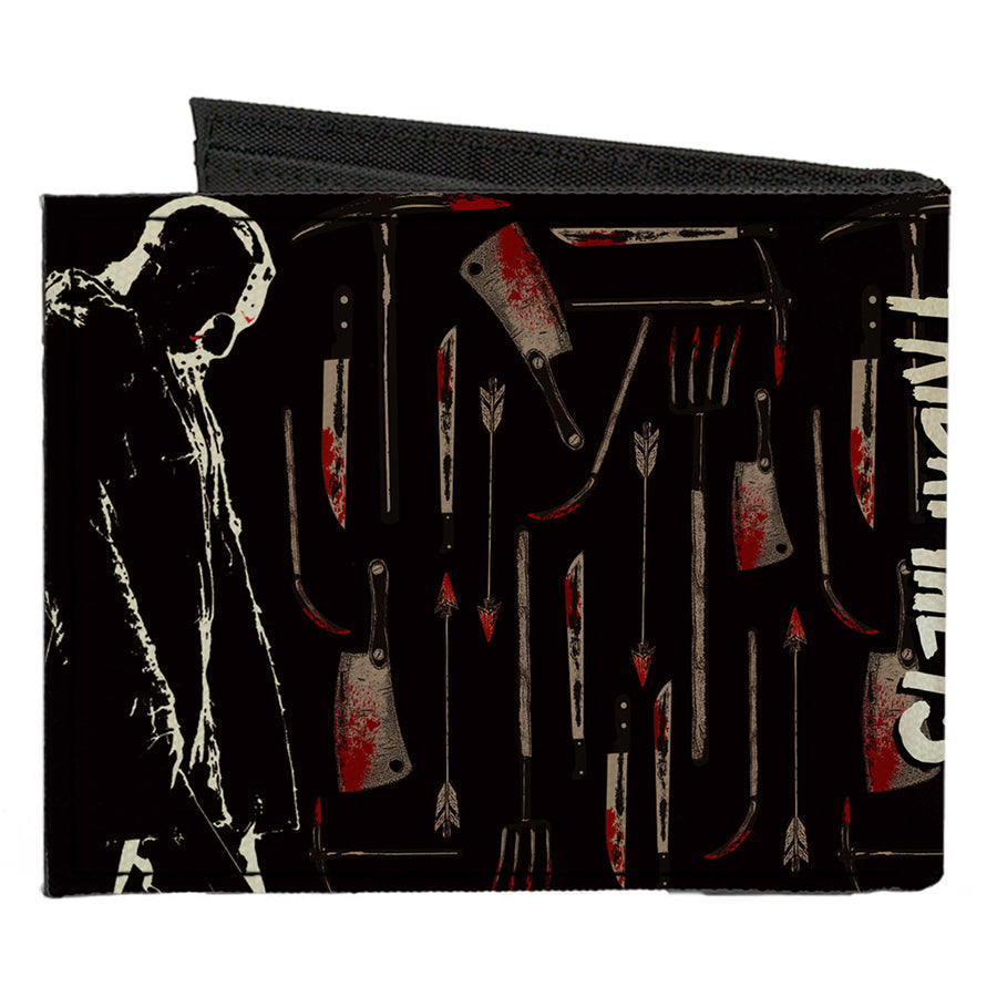 Canvas Bi-Fold Wallet - FRIDAY THE 13TH Jason Machete Pose Bloody Tools Black Grays Reds