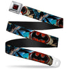 Batman Full Color Black Red Seatbelt Belt - Flashpoint Batman Action Pose2/Shattered Bat Signal/Cityscape Webbing