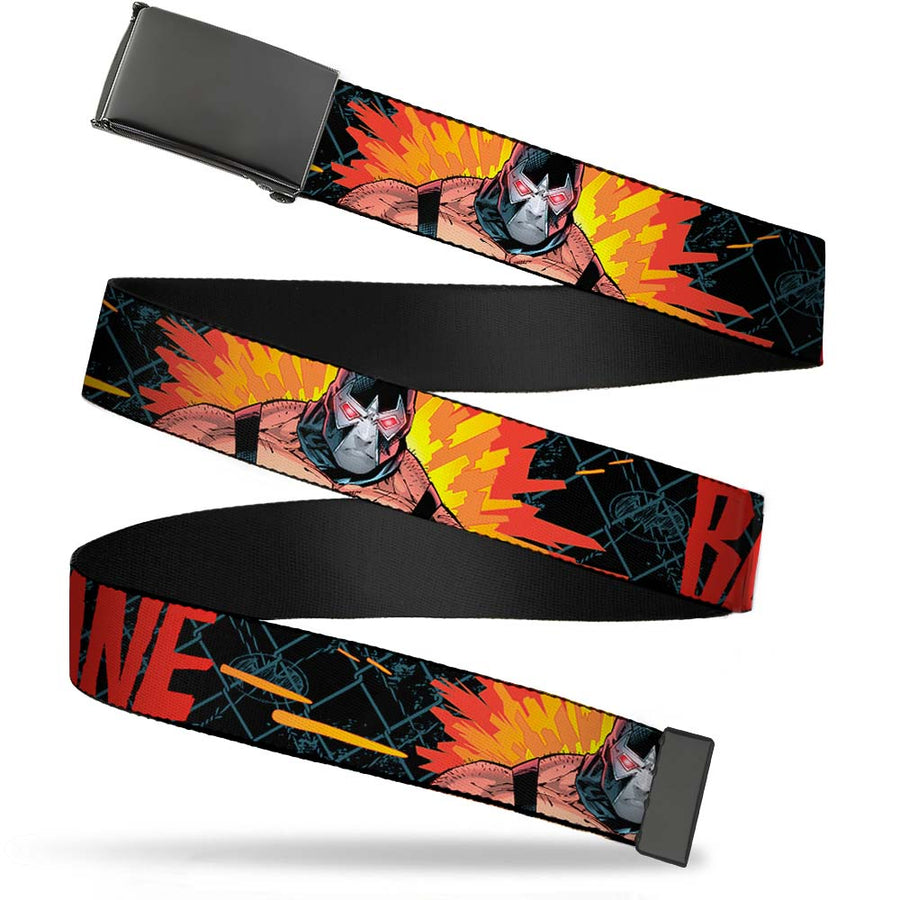 Black Buckle Web Belt - BANE Pose/Explosion Bat Signal/Chanlink Black/Gray/Reds Webbing