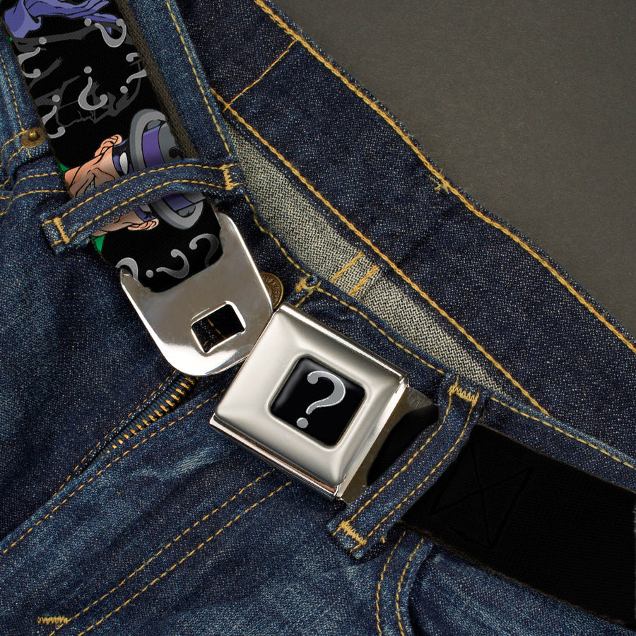 "Riddler ""?"" Black Silver Seatbelt Belt - The Riddler w/Batman Silhouette Webbing"