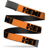 Black Buckle Web Belt - HEMI 426 Logo Repeat Orange/Black Webbing