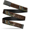 Black Buckle Web Belt - GROOT Face/GUARDIANS Badge Wood Grain Browns Webbing