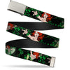 Chrome Buckle Web Belt - DC Originals Poison Ivy 3-Poses/Ivy Black/Greens Webbing