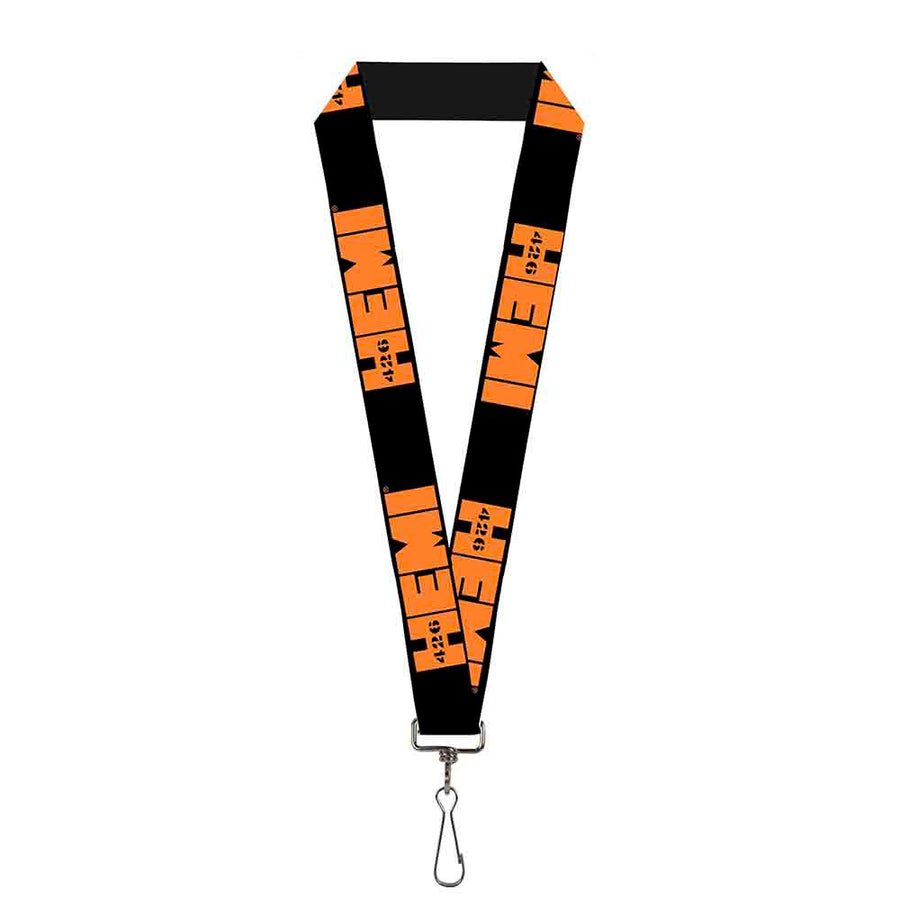 "Lanyard - 1.0"" - HEMI 426 Logo Repeat Black Orange"