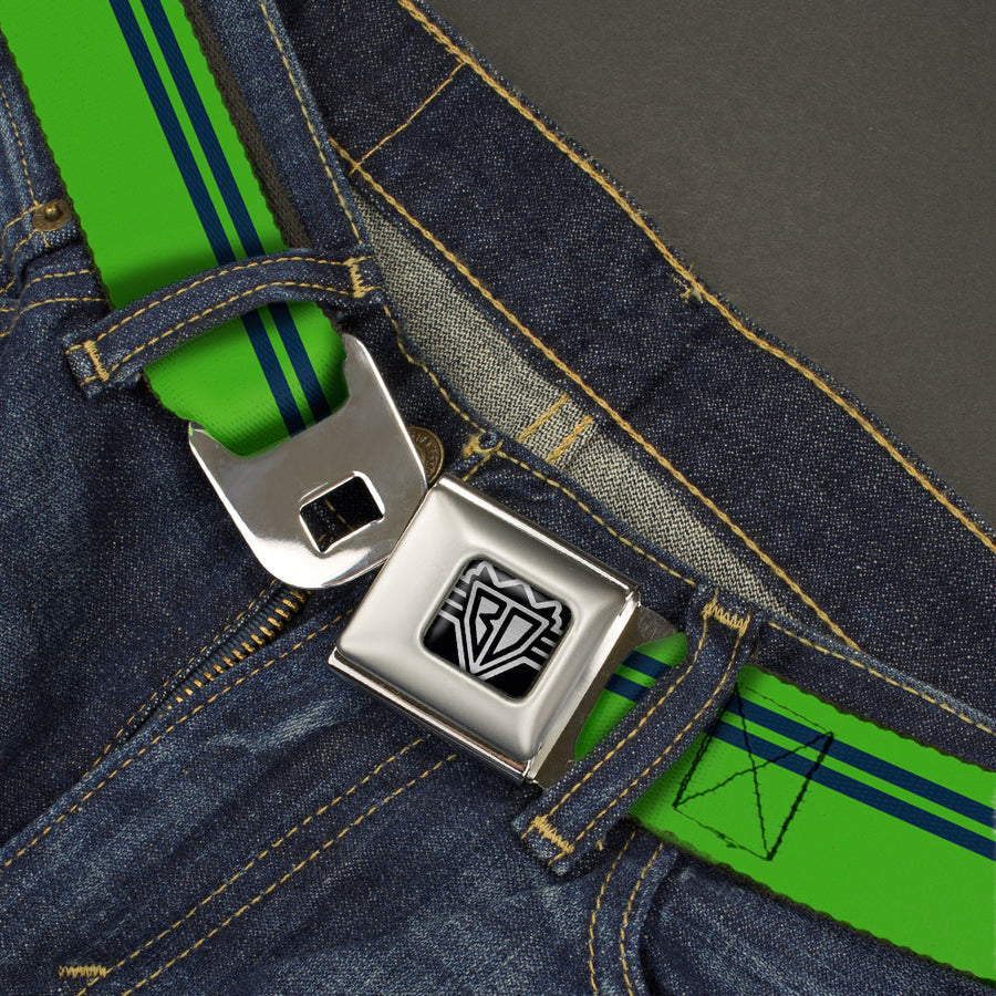BD Wings Logo CLOSE-UP Full Color Black Silver Seatbelt Belt - Racing Stripe Bright Green/Navy Webbing