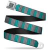 Alice Through the Looking Glass Cheshire Cat Pose Full Color Black Seatbelt Belt - Cheshire Cat Stripes Gray/Teal/Black Webbing