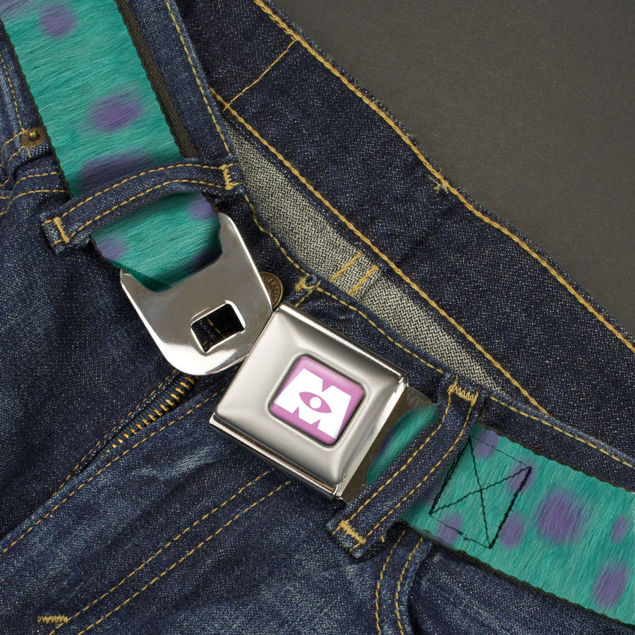 Monsters Inc. Icon Full Color Purple/White Seatbelt Belt - Monsters Inc. Sulley Bounding Spots Blue/Purple Webbing