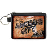 Canvas Zipper Wallet - MINI X-SMALL - GREETINGS FROM ARKHAM CITY Postcard Tans City Scenes