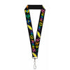 "Lanyard - 1.0"" - Grateful Dead Script w Bears & Skeletons Black Multi Color"