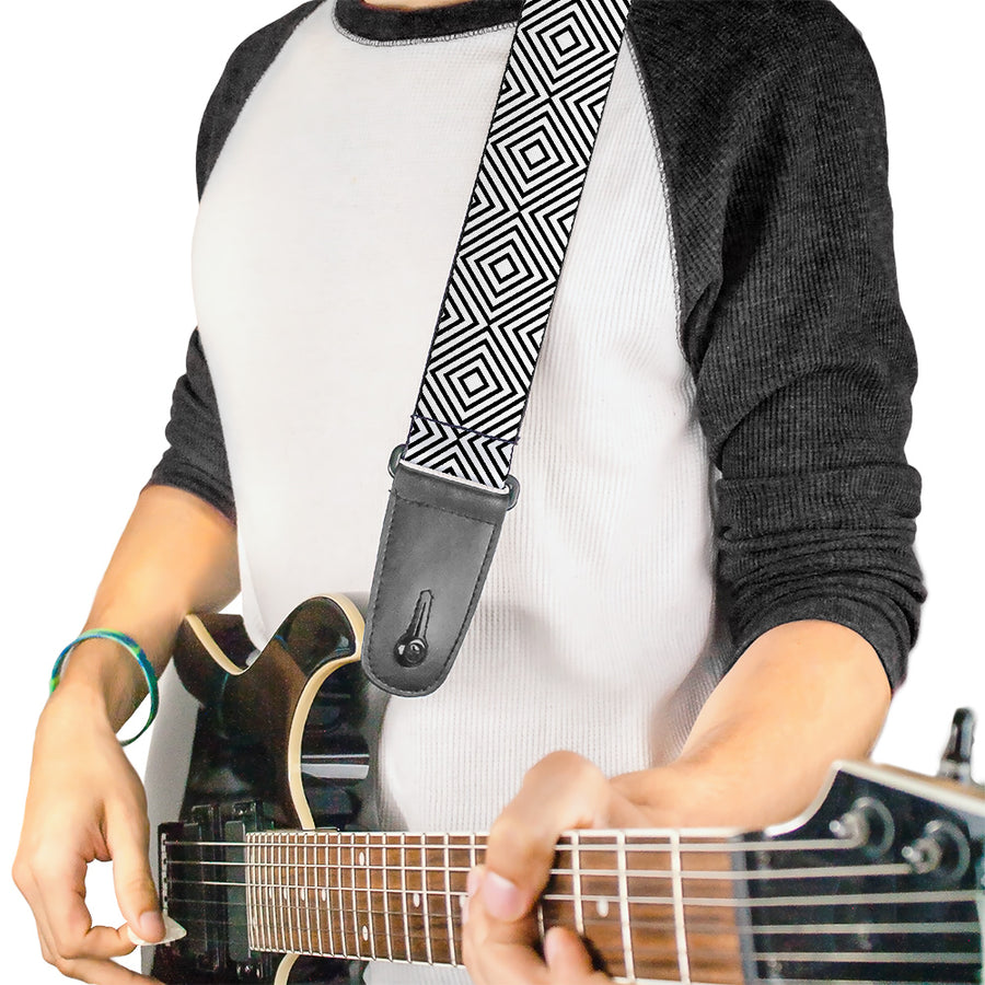 Guitar Strap - Square Lines White Black