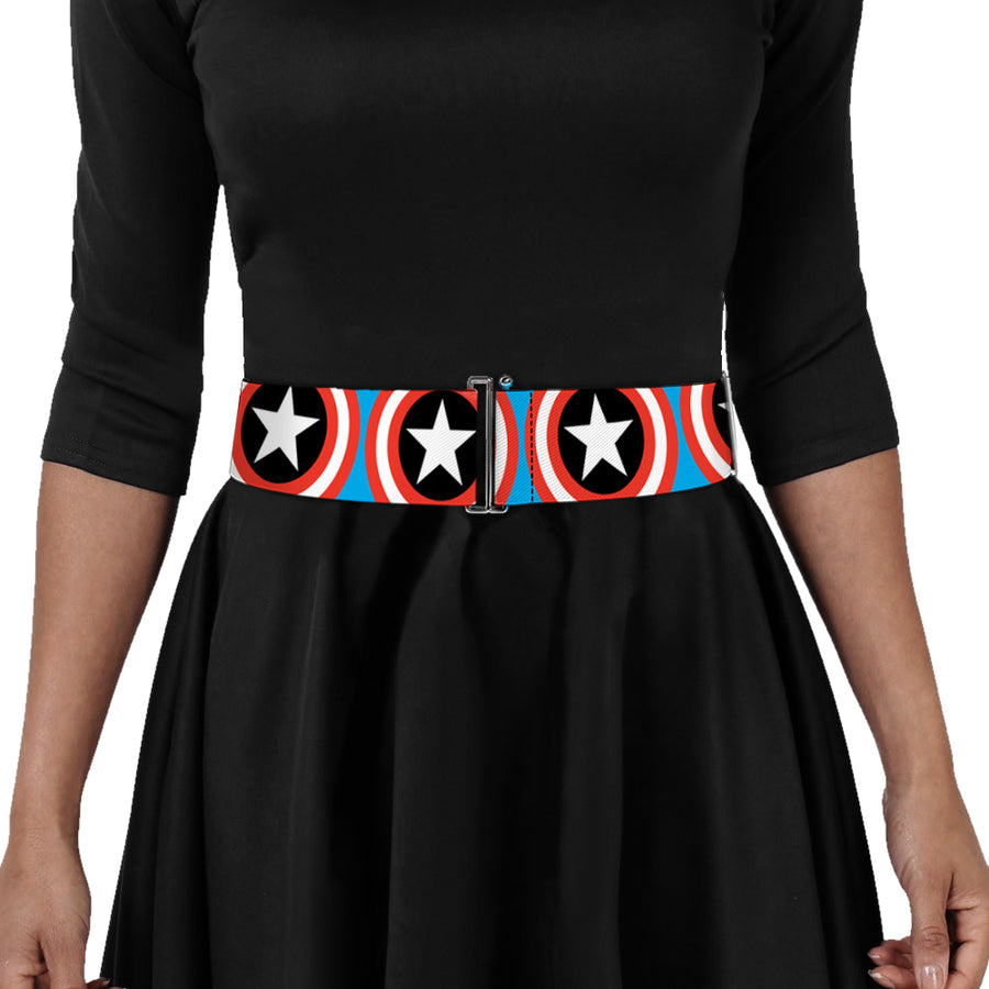 MARVEL COMICS Cinch Waist Belt - Captain America Shield Repeat Blue