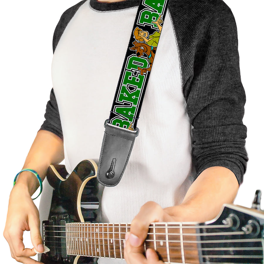 Guitar Strap - Scooby Doo & Shaggy Pose BAKED Black Green