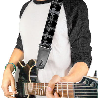 Guitar Strap - Elegant Crosses Black Grays