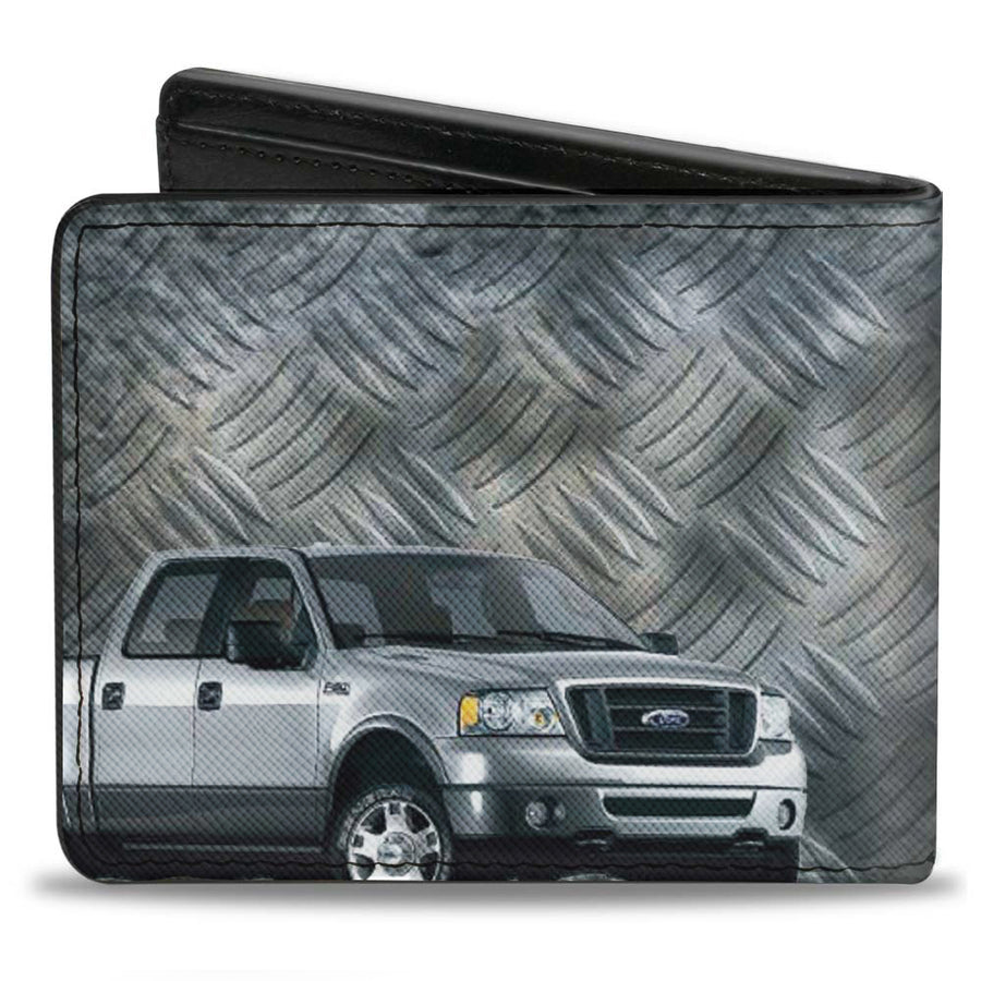 Bi-Fold Wallet - F-150 + Ford Truck Checker Metal Diamond Plate