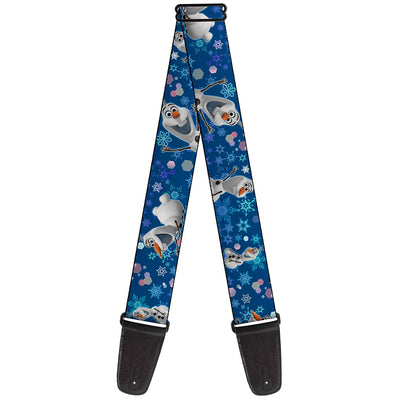Guitar Strap - Frozen Olaf Poses Snowflakes Blues
