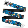 KINGDOM HEARTS Logo Full Color Black Silver Blue Fade Seatbelt Belt - Kingdom Hearts 6-Character Pose2/Turquoise Blues Webbing