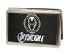 MARVEL AVENGERS Business Card Holder - LARGE - Marvel Avengers Iron Man Logo INVINCIBLE Reverse Brushed
