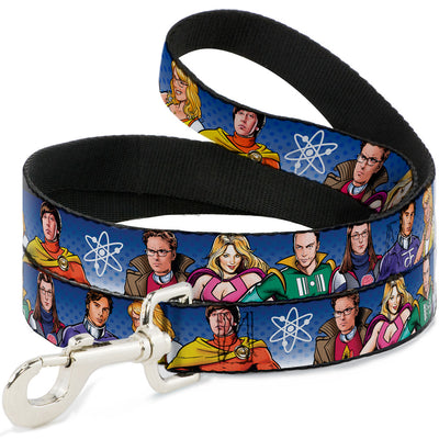 Dog Leash - The Big Bang Theory Superhero Characters Group Blue Dot Fade