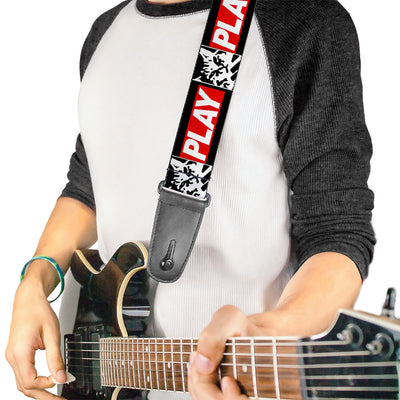 Guitar Strap - Keyboard Cat Monolith PLAY Black White Red