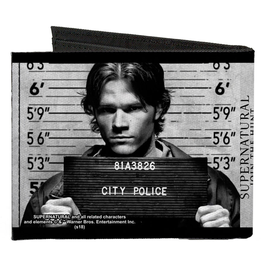 Canvas Bi-Fold Wallet - Supernatural Dean + Sam Mug Shots Grays Black White