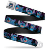 Stitch Smiling CLOSE-UP Full Color Black Seatbelt Belt - Stitch 2-Expressions/2-Poses Tropical Flora Black/Purple-Blue Fade Webbing