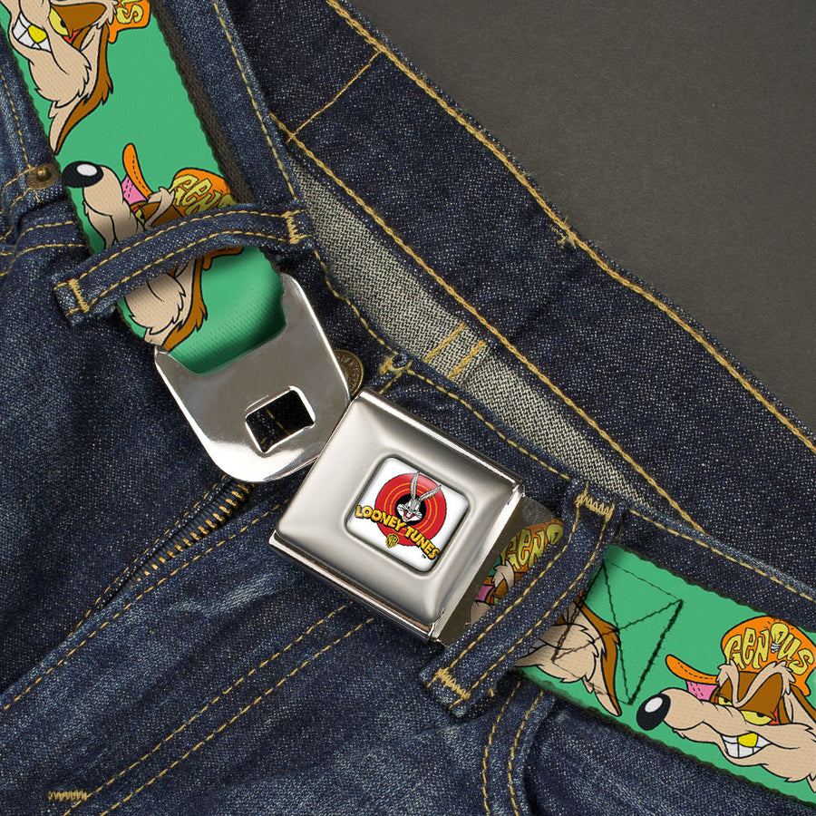 Looney Tunes Logo Full Color White Seatbelt Belt - Wile E. Coyote Hip Hop Expression Green Webbing