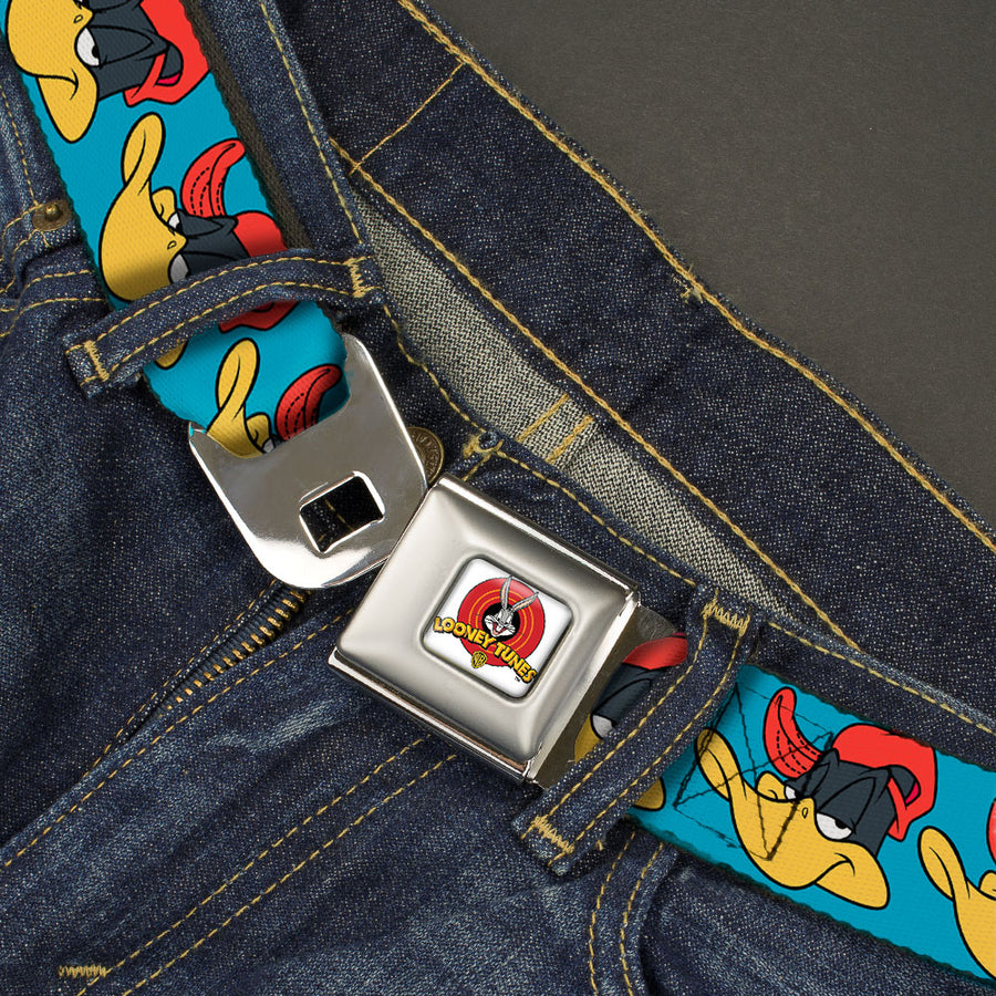 Looney Tunes Logo Full Color White Seatbelt Belt - Daffy Duck Hip Hop Expression Turquoise Webbing