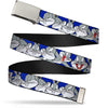 Chrome Buckle Web Belt - Bugs Bunny CLOSE-UP Poses Blue Webbing