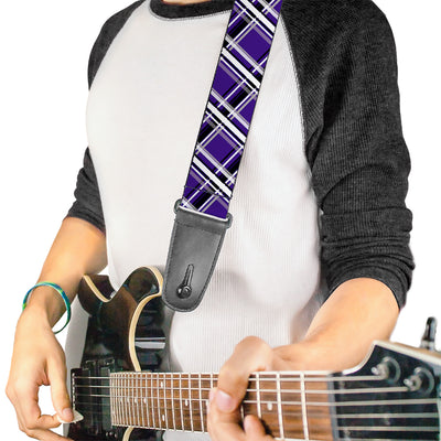 Guitar Strap - Plaid X2 Purple Gray White Black