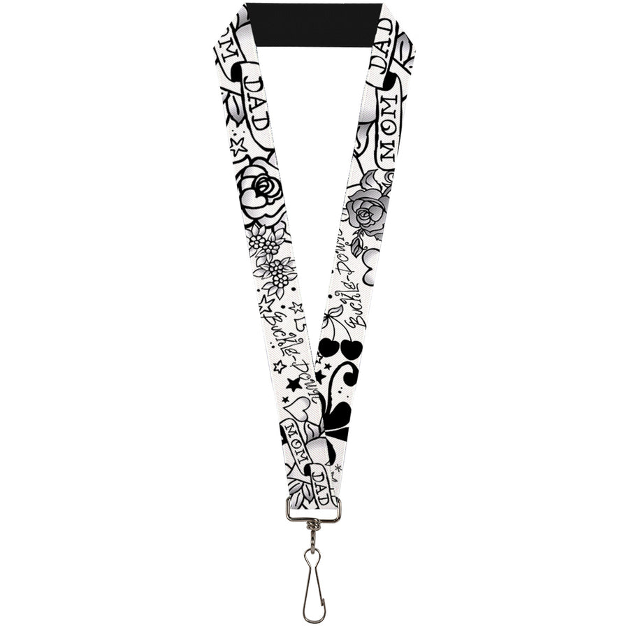"Lanyard - 1.0"" - Mom & Dad Black White"