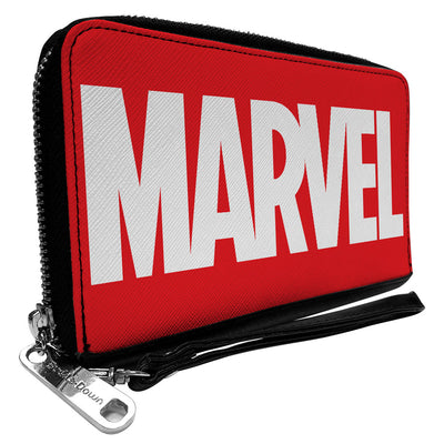 MARVEL UNIVERSE Women's PU Zip Around Wallet Rectangle - MARVEL Red Brick Logo Red White
