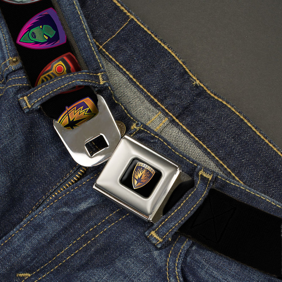 GUARDIANS OF THE GALAXY - EVERGREEN GUARDIANS Badge Full Color Black Gold Purple Seatbelt Belt - Guardians of the Galaxy Badge/5-Character Icons Black/Multi Color Webbing