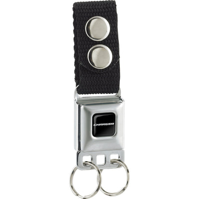 Keychain - CHARGER Text Black Silver